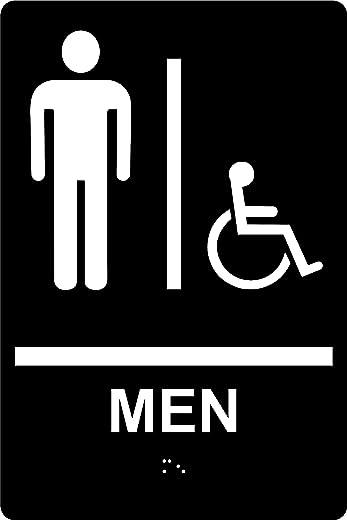 """علامة حمام الرجال المتوافقة مع ADA مع عقل وشريط مزدوج الجوانب، 6 """"× 9"""" SignOptima (أسود)"""