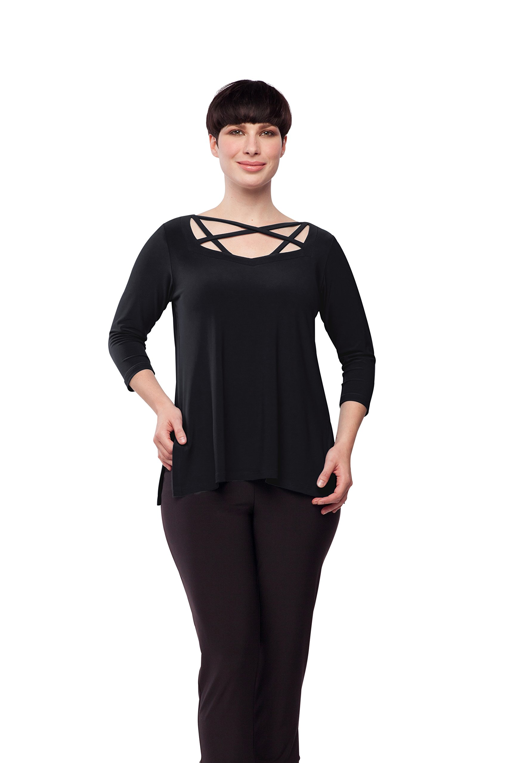 Sympli Women's Zig Zag Top-Black (10-3Q Sleeve, Black)