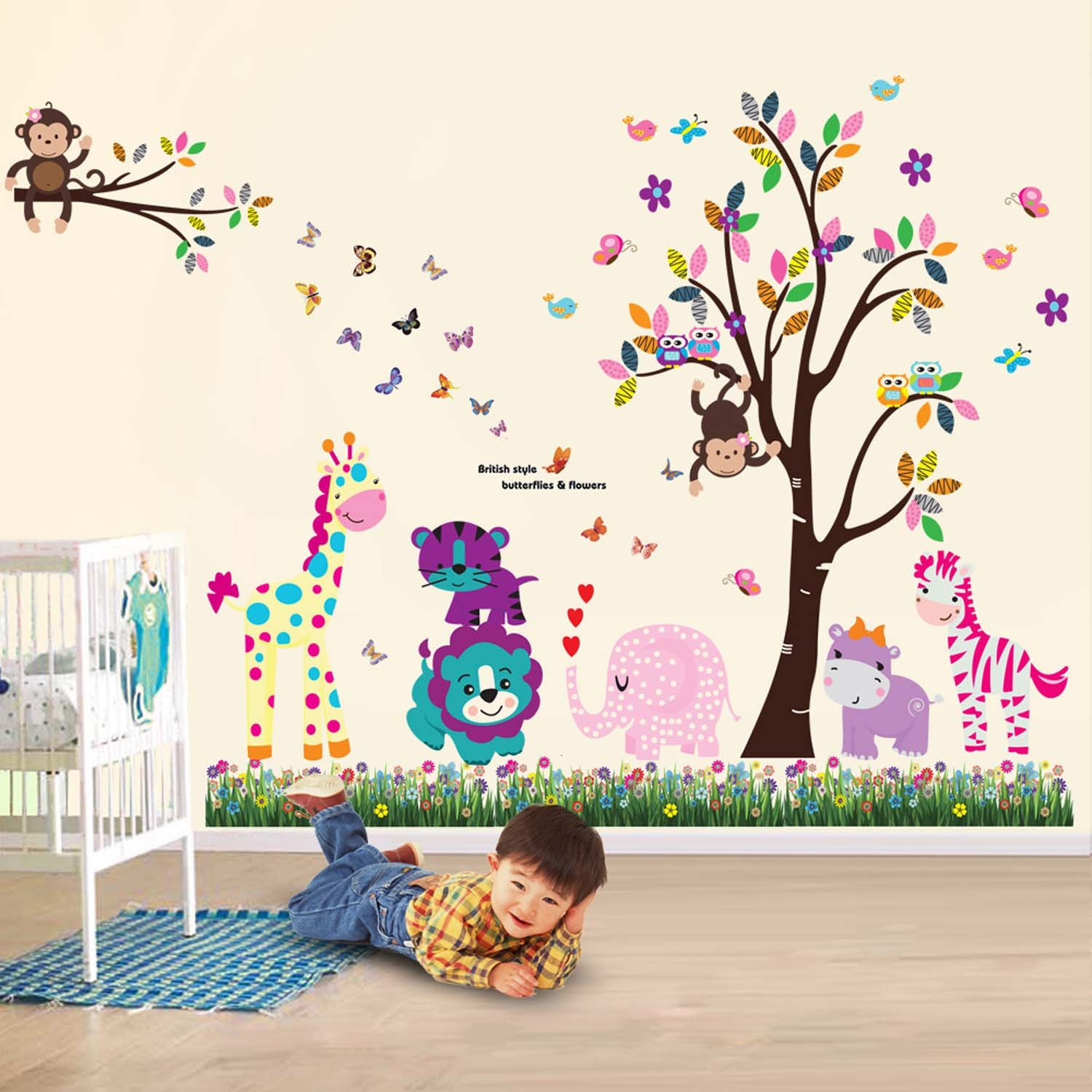 Walplus Wall Stickers Happy Animals Tree Butterfly Grass Removable  Self Adhesive Mural Art Decals Vinyl Home Decoration DIY Living Bedroom  Office Décor ... Part 30
