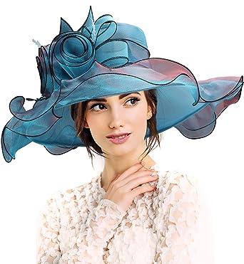 Womens Kentucky Derby Church Sun Hat Wide Brim Foldable Tea Party Wedding Floral Organza Summer Gauze Hats