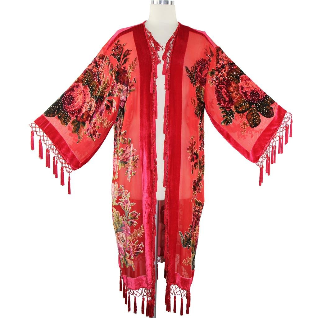Aris A Women Vintage Floral Silk Burnout Velvet Handmade Beaded with tassels Duster Kimono