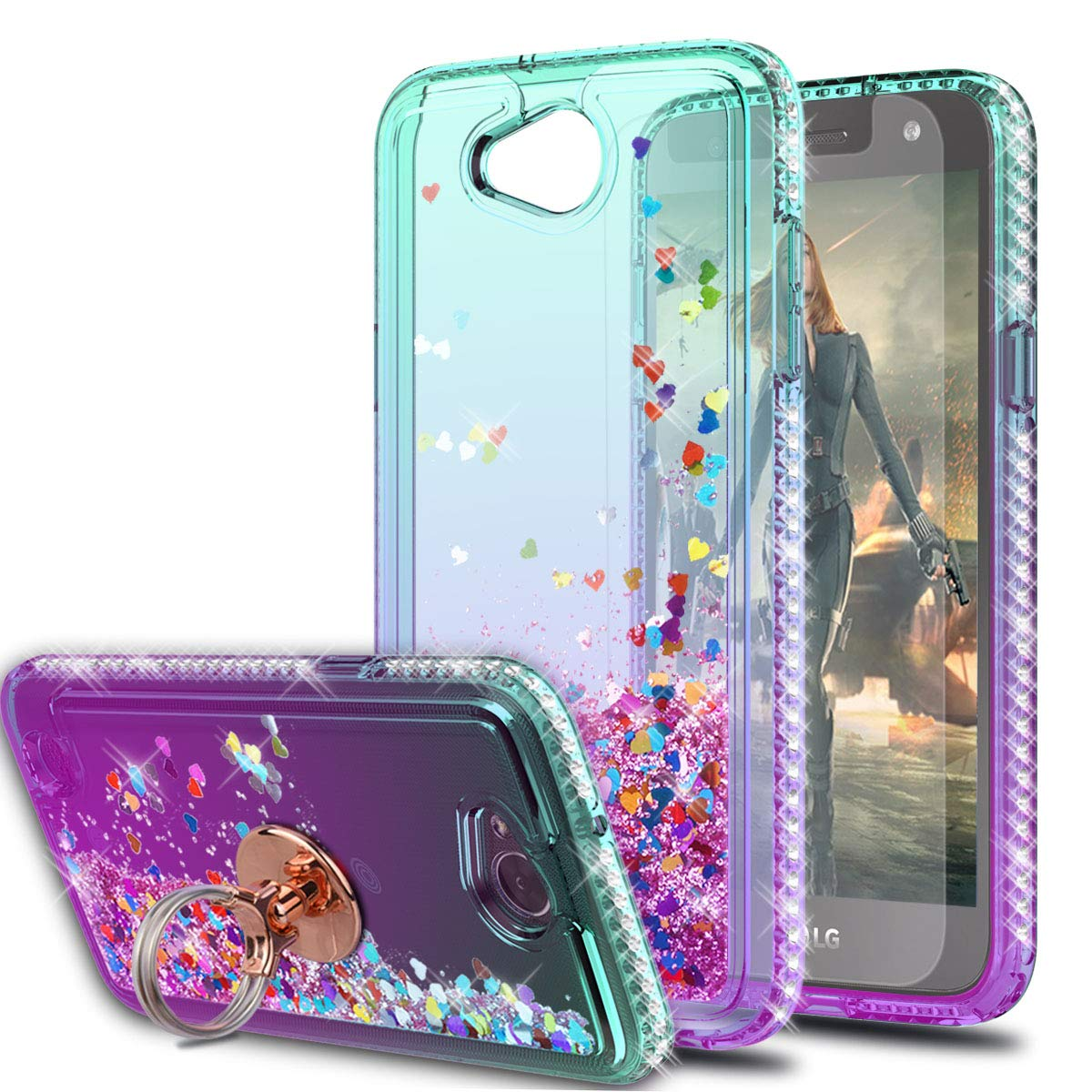 LG Fiesta 2 LTE Case LG X Charge Case LG X Power 2 Cases with HD Screen Protector with Ring Holder,KaiMai Glitter Moving Quicksand Clear Cute Shiny Phone Case for LG LV7-Aqua/Purple Ring by KaiMai
