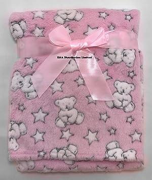 Soft Touch Baby Girls Pink Fleece Blanket Wrap Teddy Bears 75 x 100cm