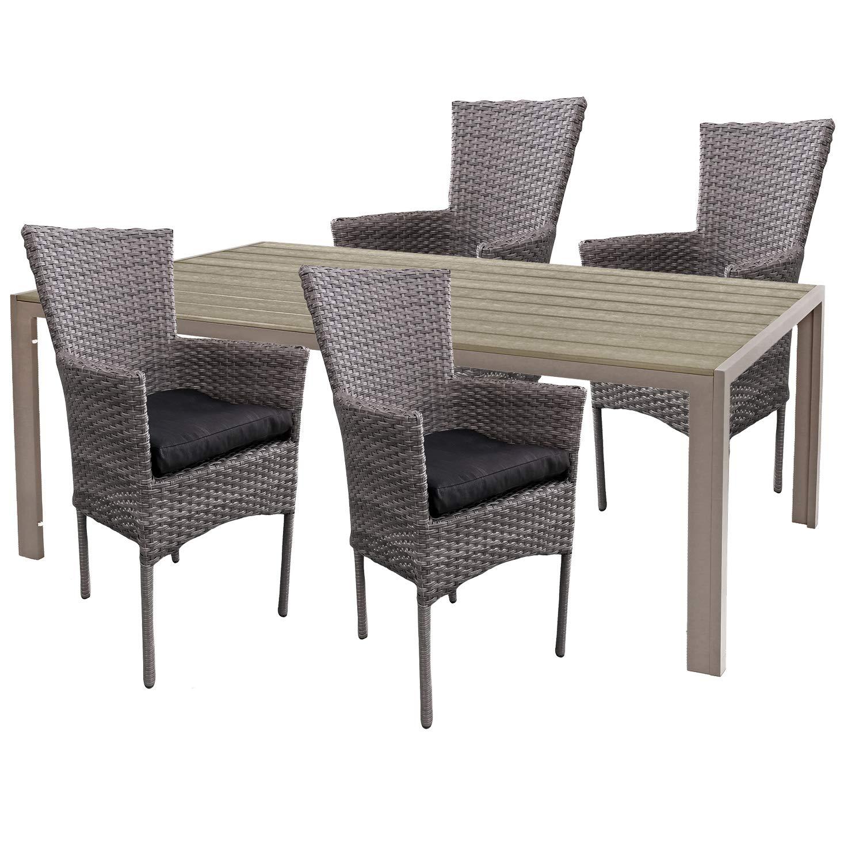 Mojawo Hochwertige Gartengarnitur 5-teilig Gartentisch 150x90cm Champagner Aluminium/Polywood Champagner + 4 Rattansessel grau-meliert