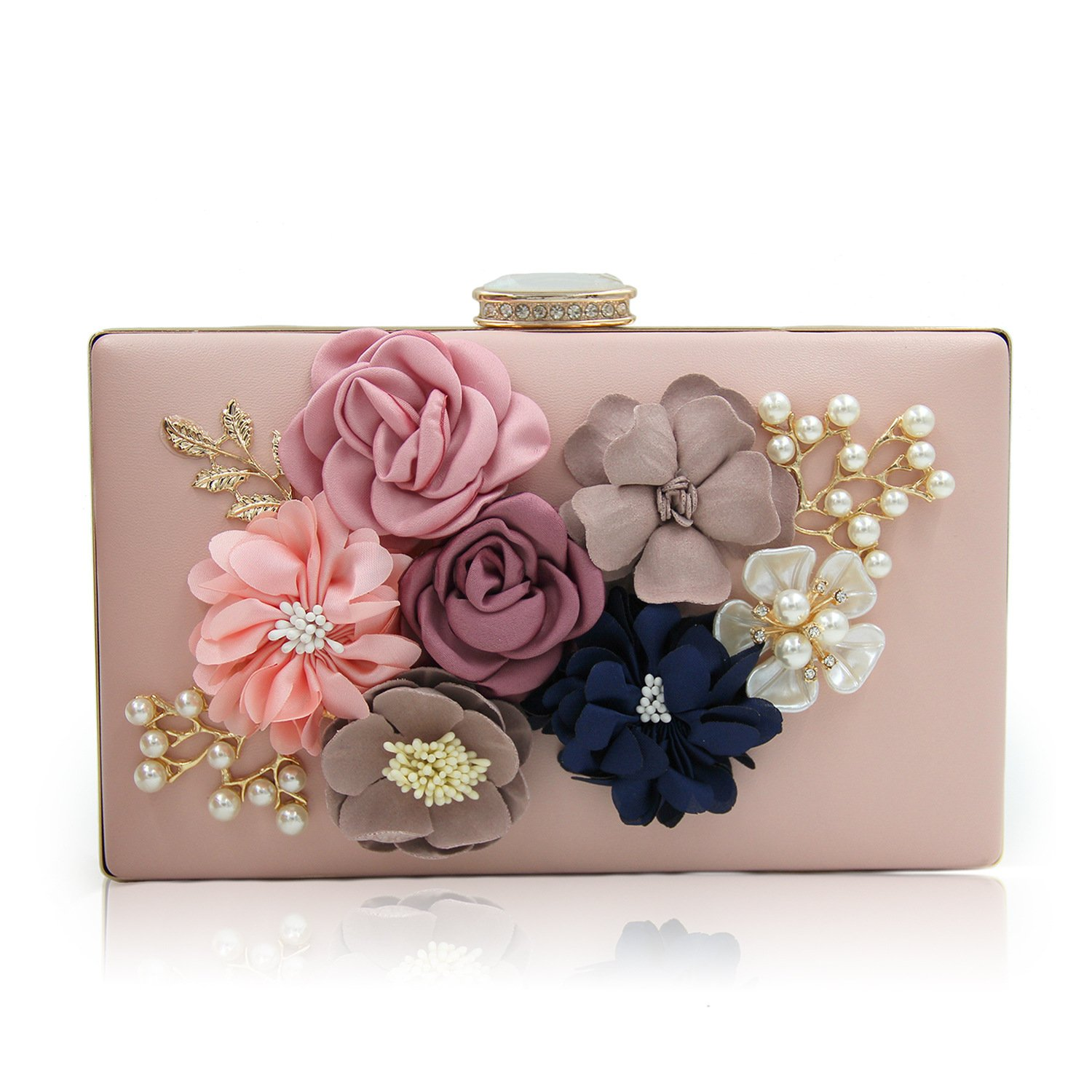 Tom Clovers Womens Flower Pearl PU Leather Cocktail Evening Handbag Clutch Wedding Crossbody Purse with Detachable Long and Short Chain Pink