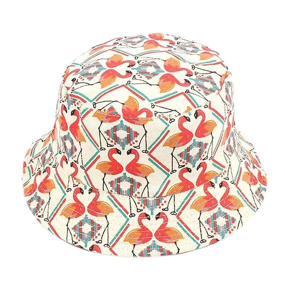 BIBITIME Flamingo Bucket Hat Women Summer Beach Sunhat Men Canvas Fisherman  Cap (Beige White 254ead4ea42