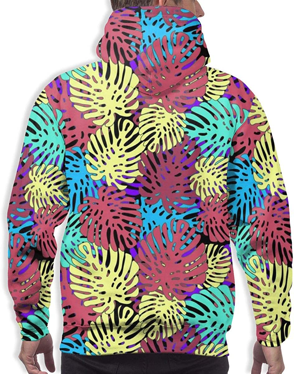 Mens Hoodie Colorful Tropical Leaves Sweate Sweatshirt Mens Casual Hoodie Casual Top Hooded