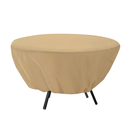 amazon com classic accessories terrazzo round patio table cover rh amazon com outdoor round table covers with elastic round plastic outdoor table covers