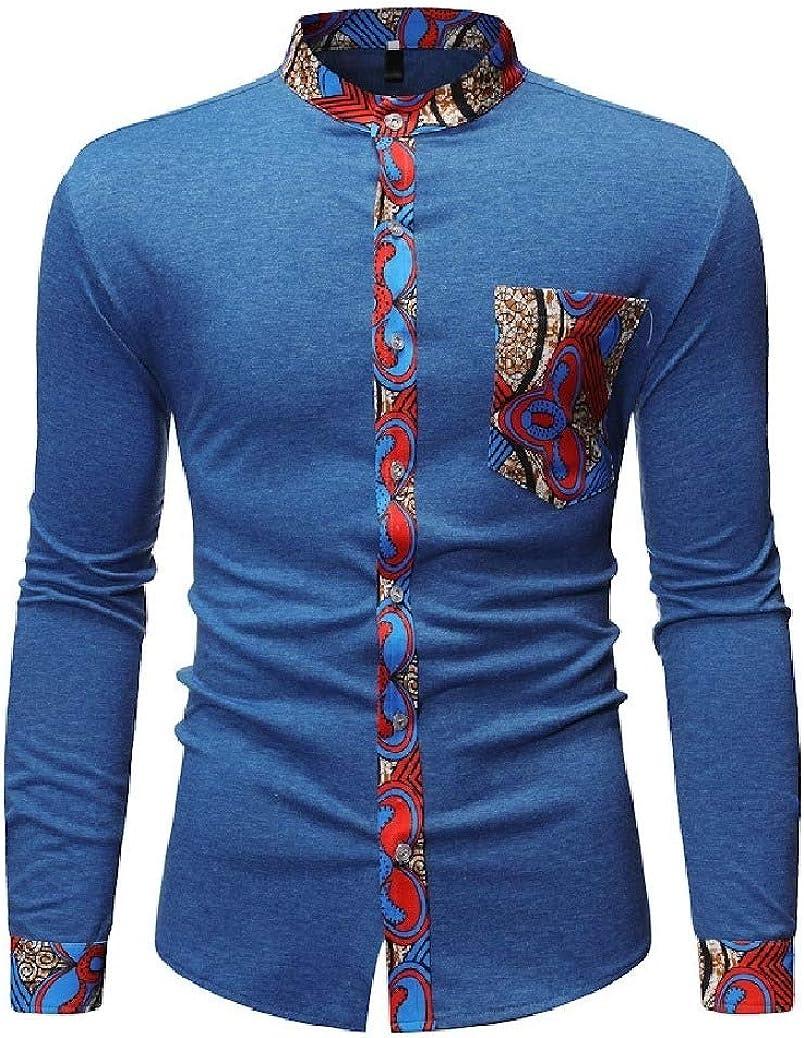 Fieer Mens Dashiki Oversize African Flower Print Tshirt Shirt