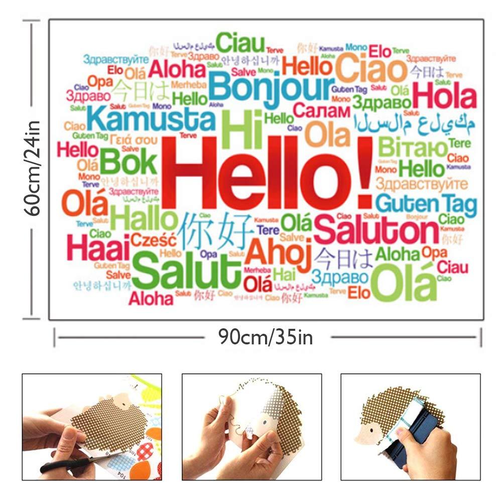 HUABEI Stickers Muraux Citations Bonjour Salut pour D/écoration de Maison Stickers Muraux Amovibles