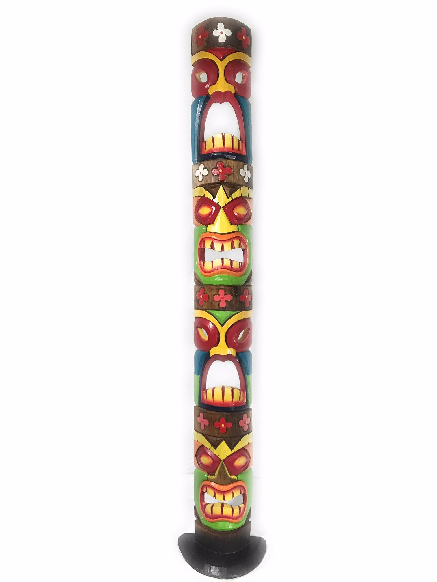 Love, Prosperity, Health, Luck Colorful Quadruple Tiki Mask on stand 60'' | #bag15044150B by tikimaster.com