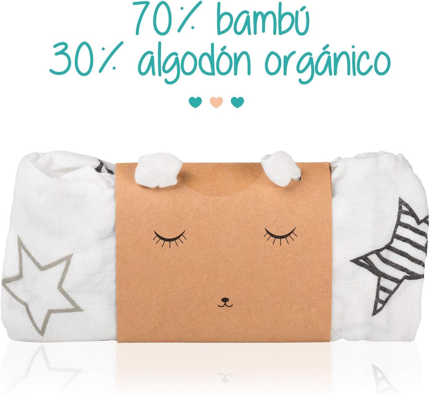 Manta de Muselina en Bambú y Algodón Orgánico para Bebé | Gasa Swaddle Wrap Unisex | Sábana para recién nacido Multiusos | Paño Ultra Suave y Transpirable | Mantita Algodón Extra Grande