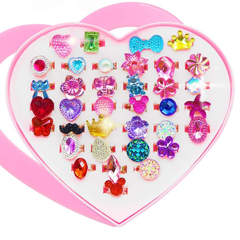 JUSTIDEA 36 Pcs Little Girl Rings Adjustable Kids Rings Colorful Jewelry Diamond Flower Heart Shape Children's Rings Pretend Play by JUSTIDEA