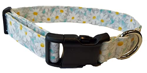 Elegant Floral white Cotton Fabric Gray Daisy Dog Collar Puppy Flowers ice blue neutral Grey Daisies Adjustable Handmade by Britches4Stitches