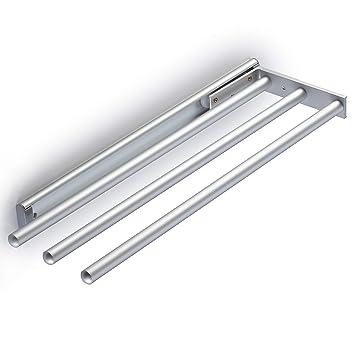 eloxiertes Aluminium Ausziehbar 3 Stangen Handtuchhalter