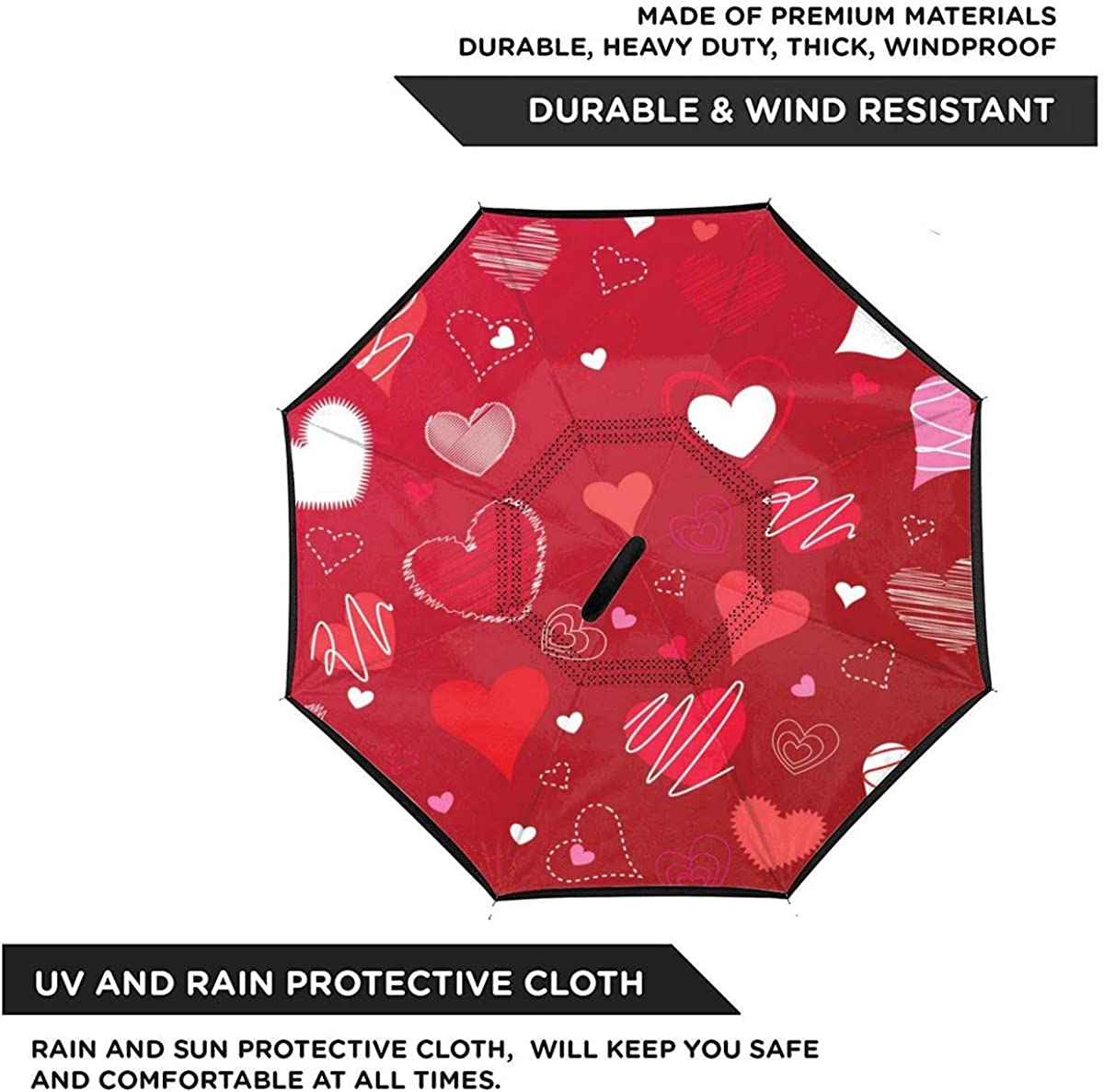 Valentines Day Red Love Vector Image Reverse Umbrella Double Layer Inverted Umbrellas For Car Rain Outdoor With C-Shaped Handle Customized
