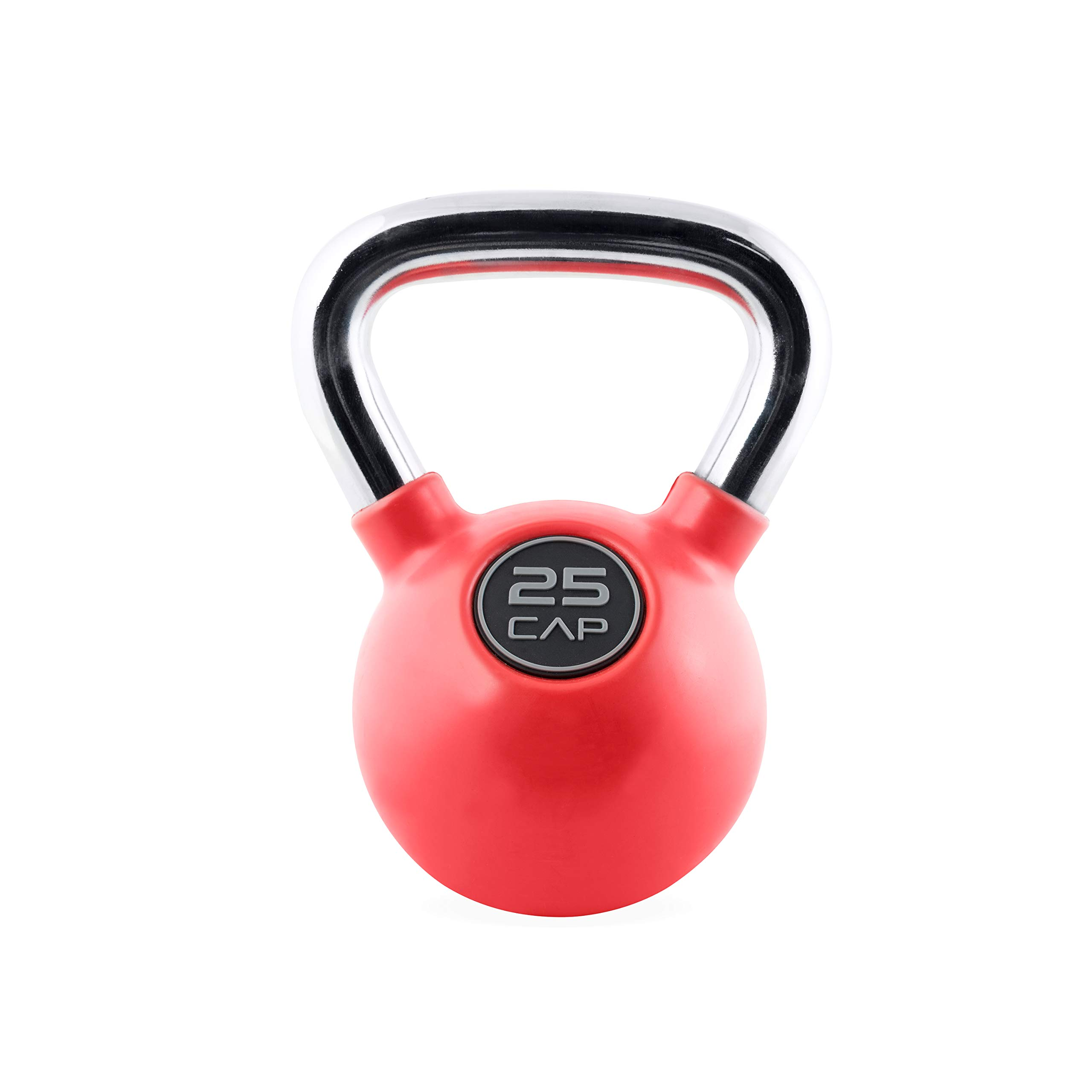 CAP Barbell Colored Rubber Coated Kettlebell with Chrome Handle, 25 lb