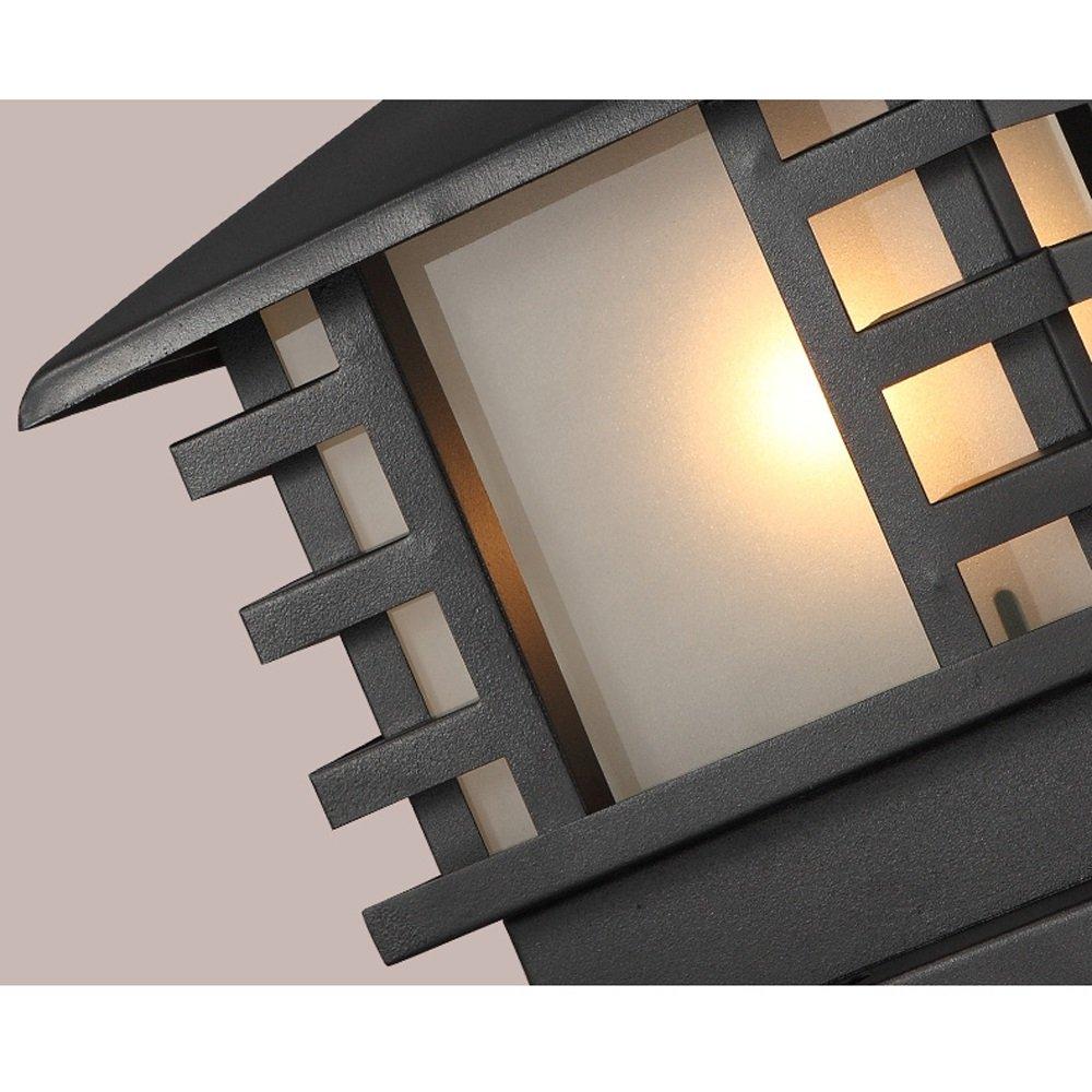 Modeen Continental Victoria Retro LED Outdoor Table Lamp Waterproof Villa Balcony Fence Column Lamp Desk Light Glass Aluminum Light Black E27 Decoration Garden Lights Lawn Lamp (Size : 36cm40cm) by Modeen (Image #5)
