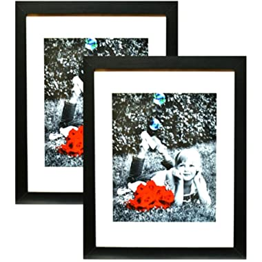 11x14 Inch Picture Frame Black (2-pack) - HIGH DEFINITION GLASS FRONT COVER - Displays 11 by 14  Picture w/o Mat or an 8x10 Photo w/ Mat - Vertical or Horizontal Mounts & Comes Ready To Hang