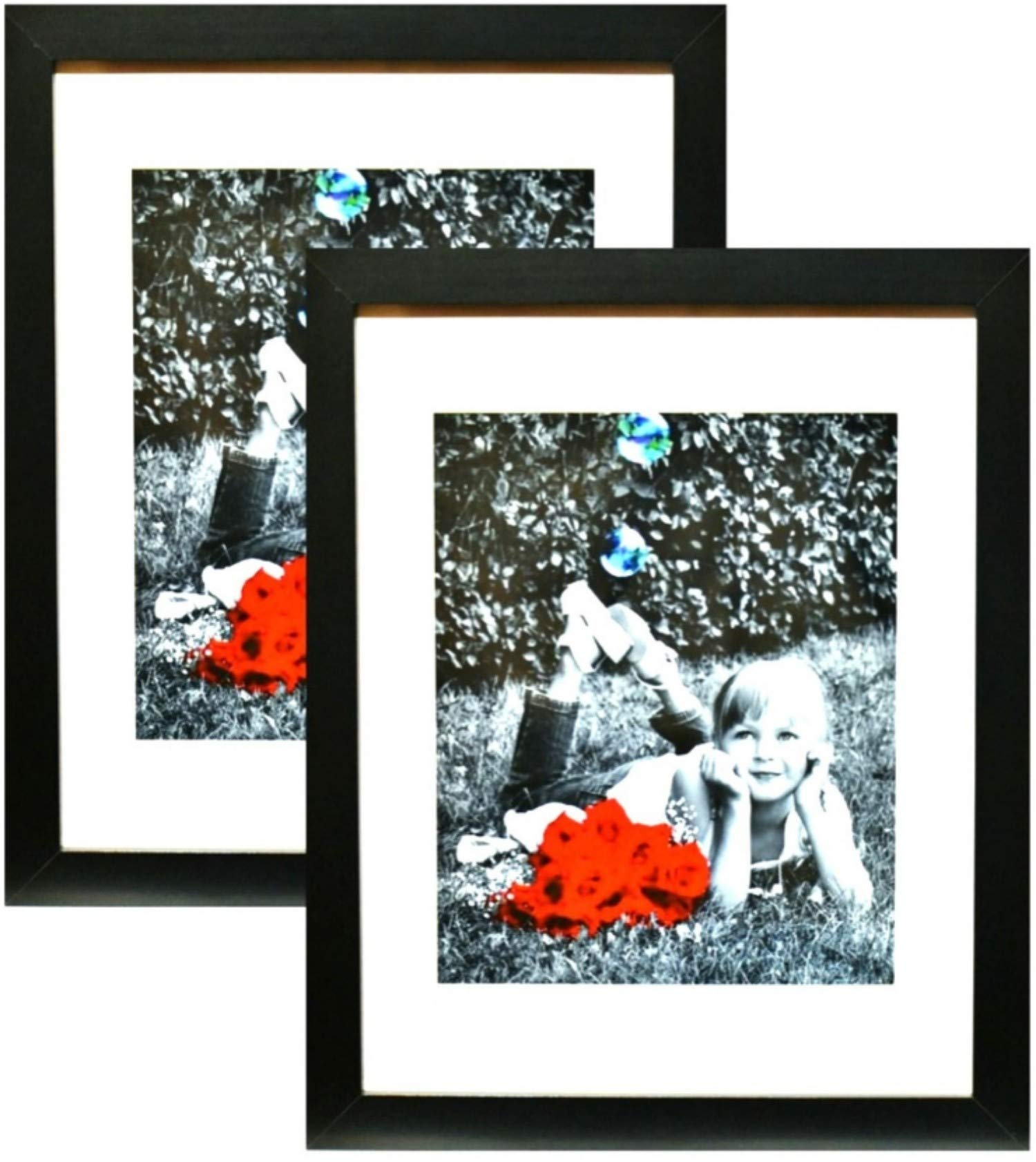 11x14 Inch Picture Frame Black (2-pack) - GLASS FRONT COVER - Displays an 11 by 14'' Picture w/o Mat or an 8x10 Photo with Mat - Vertical or Horizontal Mounts & Easy To Hang - No Hardware to Install.