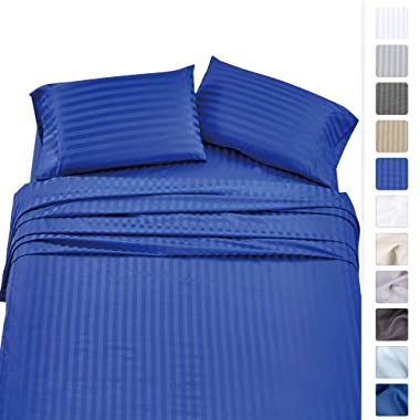 500 Thread Count Queen Sheet Sets - (4pc, Real Blue) - Long Staple Cotton With Woven Damask Stripe - Premium Quality and Deep Pocket Satin Bedsheets, Fits Upto Mattress 18'' Deep Pocket