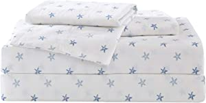 Tommy Bahama | Starfish Treasure Collection | Bed Sheet Set - Crisp & Cool 100% Washed Cotton Lightweight Bedding, King, Blue
