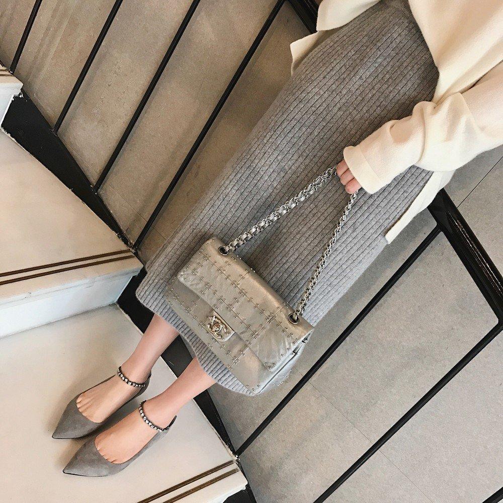 DHG Kleine und Spitze Stiletto Princess Einzelne Einzelne Einzelne Schuhe mit Damenschuhen,Grau,35 - db01f9