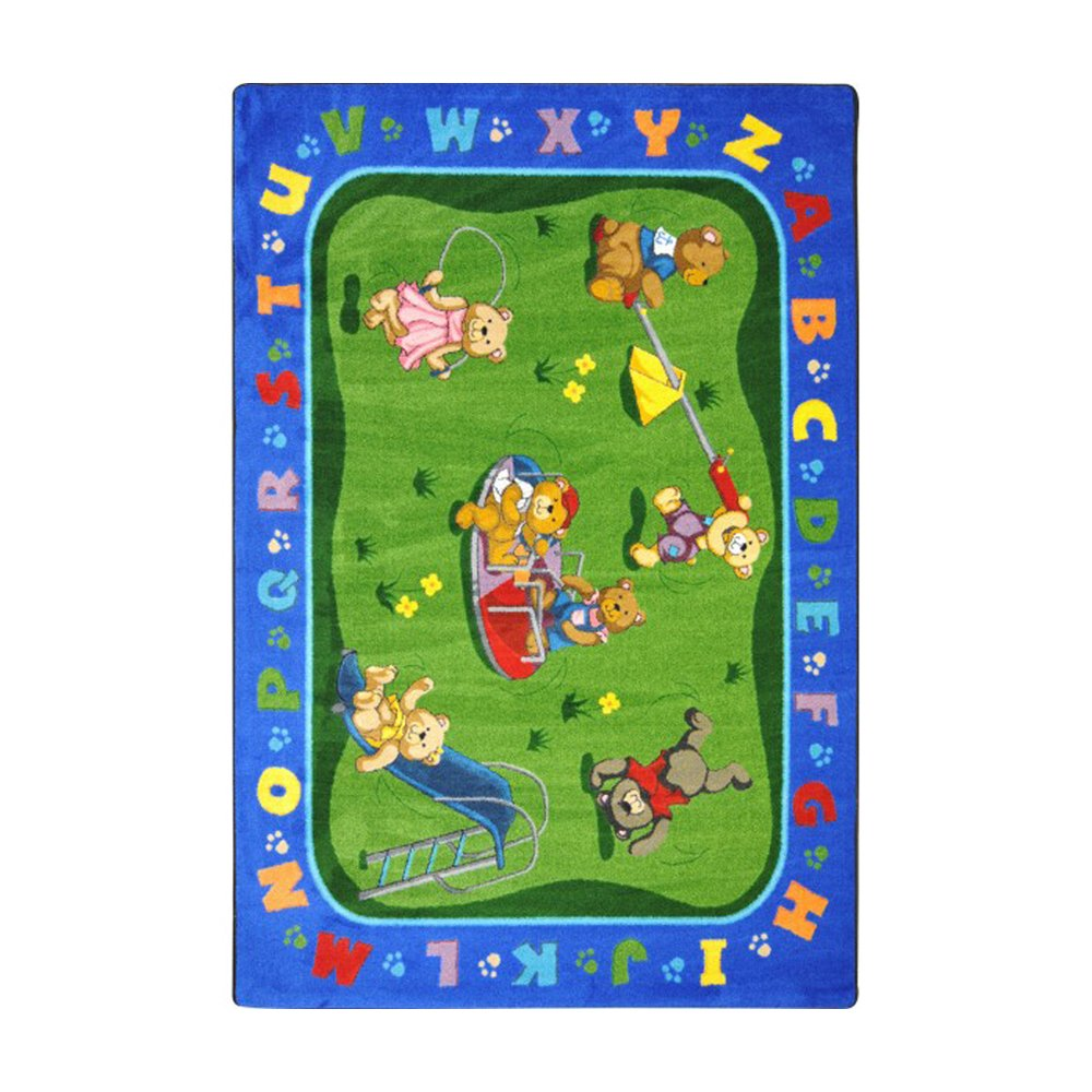 Joy Carpets Kid Essentials Early Childhood Teddy Bear Playground Rug, Multicolored, 5'4'' x 7'8''