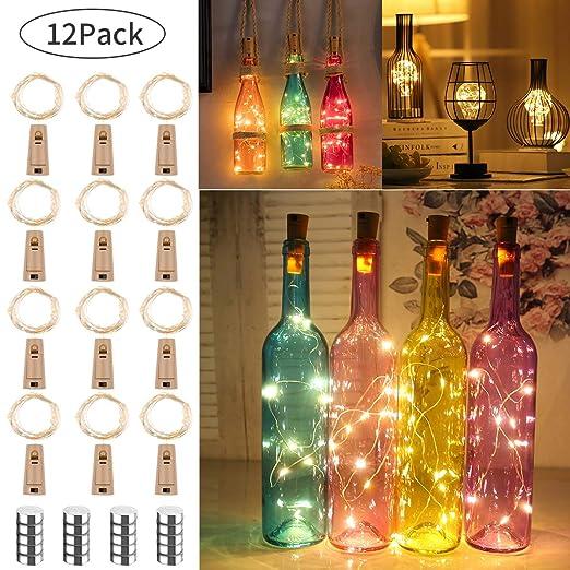 12 Piezas luz de Botella luz Corcho 20 LEDs 2M Luces Lámparas de Botellas con Pilas Botella de Vino Flexible de Alambre de Cobre LED Corcho para Boda, ...