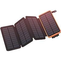 Solar Powerbank 25000mAh, Hiluckey Solar Ladegerät mit 2-Port 2,1 A Output Tragbar Power Bank Externer Akku für iPhone, Samsung Galaxy, iPad, Android Handys-Wasserdicht
