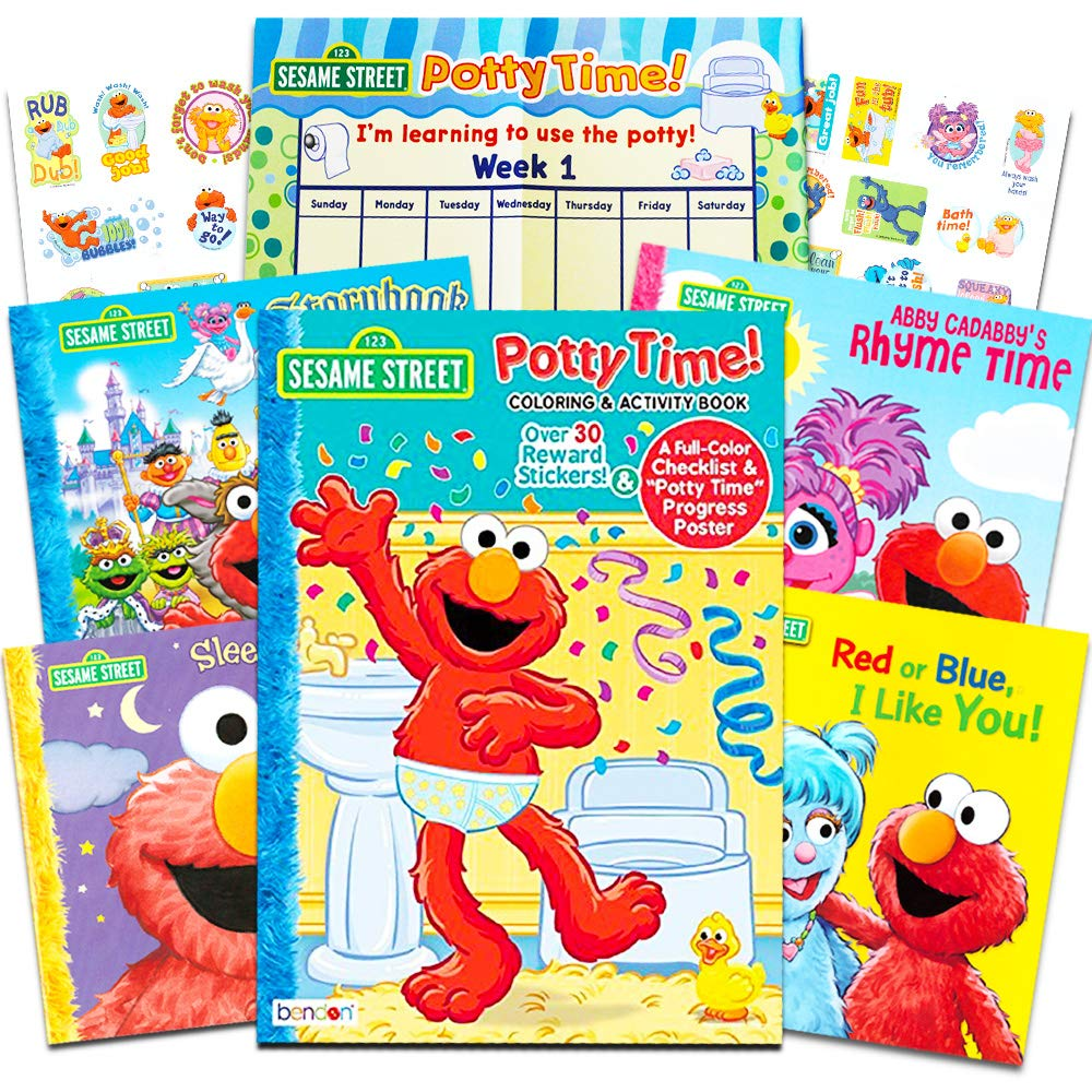 Sesame Street Elmo Potty Training Book Super Set For Toddlers -- Includes Progress Chart, Poster, Reward Stickers and Bonus Sesame Storybooks (ABC, Colors, Rhymes, Bedtime)