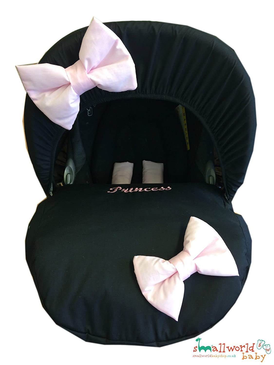 Personalised Black With Pink Bow Baby Car Seat Cover Small World Baby Shop