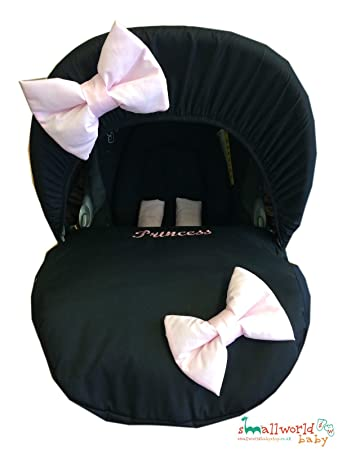 Personalised Black With Pink Bow Baby Car Seat Cover: Amazon.co.uk: