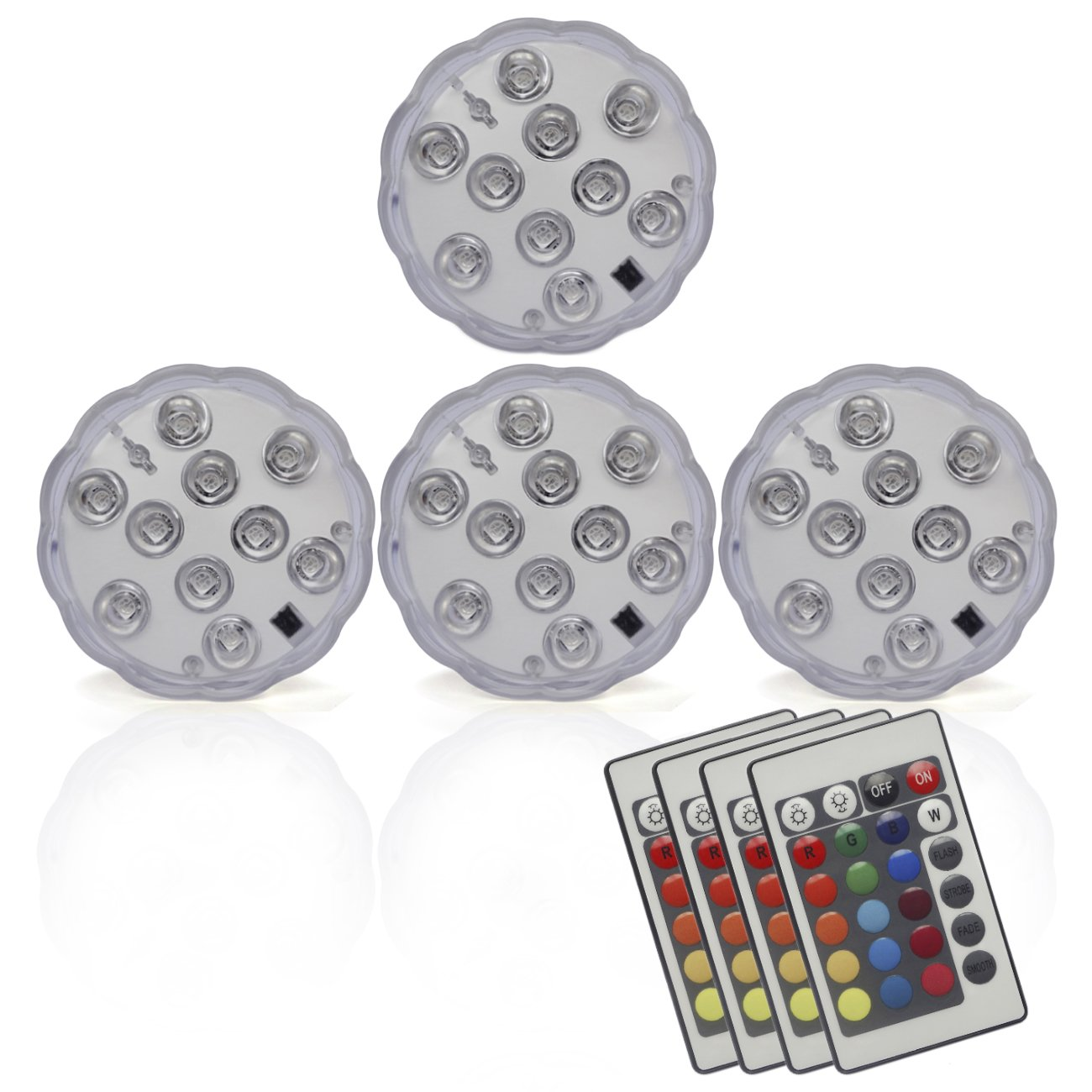 Durawell RGB Color Changing LED Lights, 16 Colors 4 Modes Battery Powered Submersible Lights Remote (4-Pack)