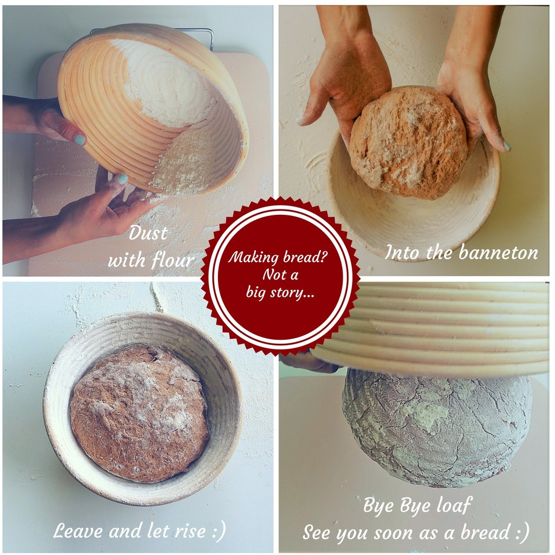 10 inch Brotform Handmade Unbleached Natural Cane Bread Baking Kit with Cloth Liner Round Banneton Proofing Basket Set