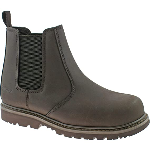 2bbfdbb55b3 Grafters 539 Mens Safety Chelsea Boots In Brown, Size: 12: Amazon.co ...