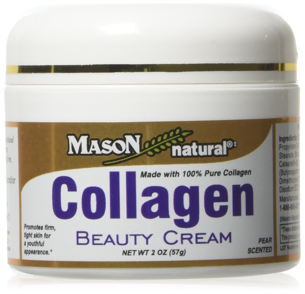 Mason Natural Collagen Beauty Cream Made with 100% Pure Collagen ,2 Ounce (Pack of 3)