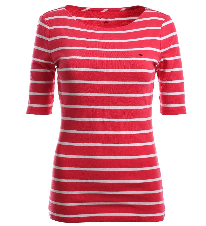 ce941466d3224 Beste Tommy Hilfiger Damen 3 4 Arm Shirt Longsleeve Damenshirt Pink-Weiß  Größe XXL