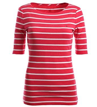 cf781a3bf809 Tommy Hilfiger Women's Half Sleeve Striped T-Shirt (Large, Shocking Pink/ White