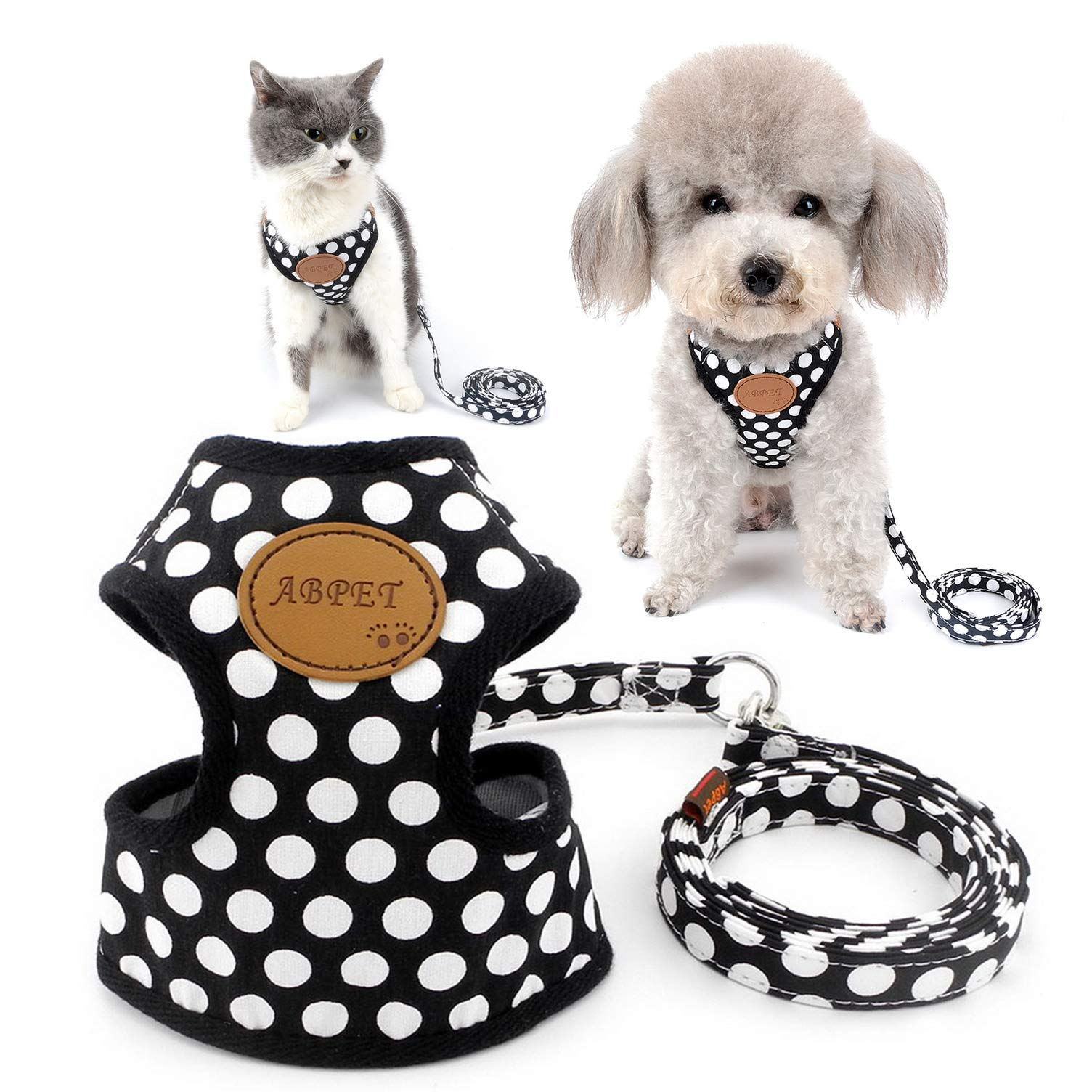 SELMAI Polka Dots Dog Harness Vest Leash Set Paw Patch Mesh Padded No Pull Leads for Small Dog Puppy Cat Black L by SELMAI
