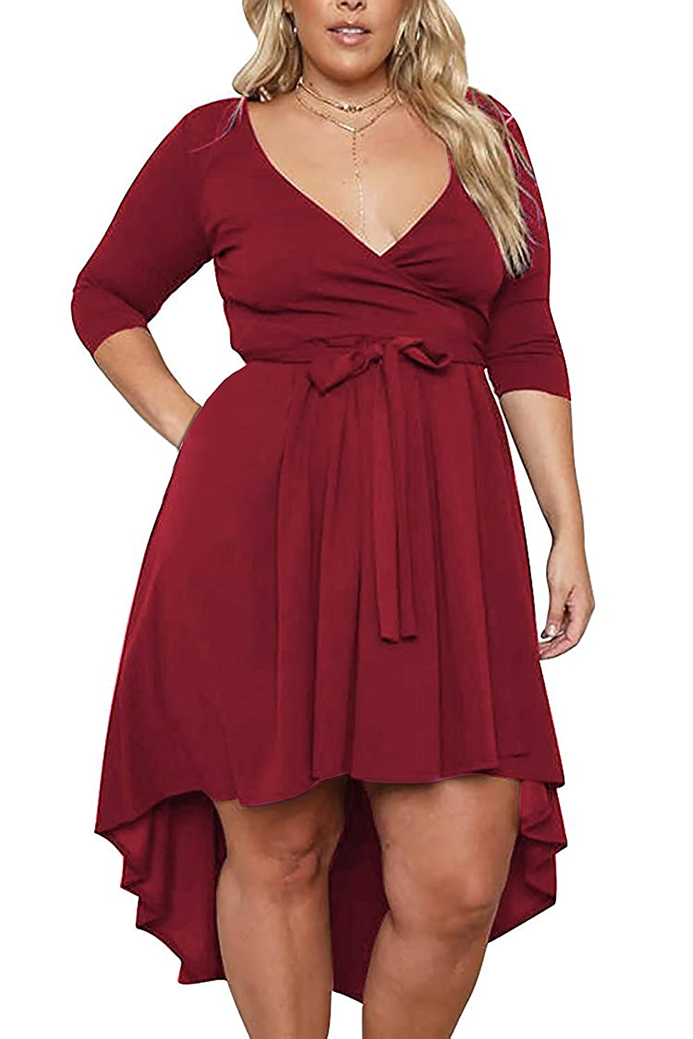 3e754b809533 The drop down size is US Plus SIZE. Stretchy and Soft Material,V-neckline  with self-tie belt. Unique HIGH LOW Hem Design,above the knee,flared swing.