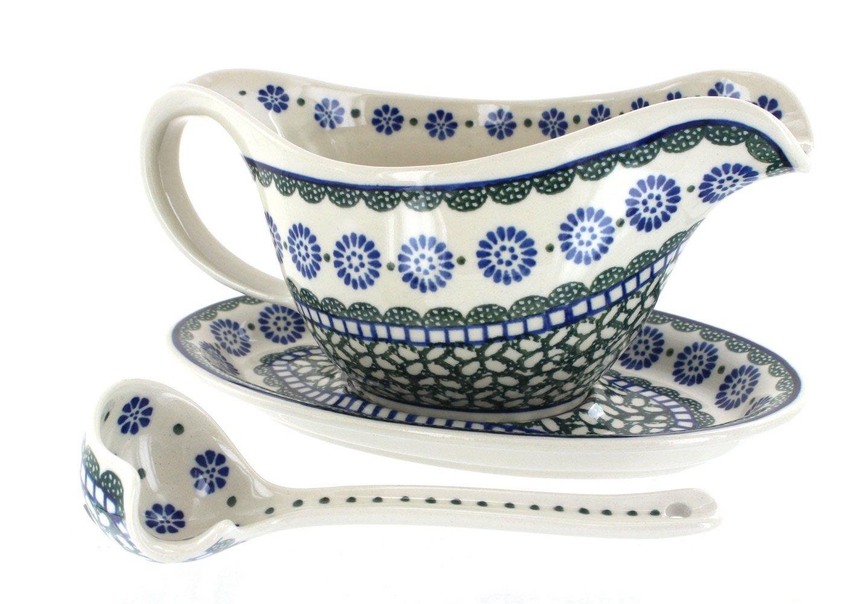 Polish Pottery Maia Gravy Boat & Ladle