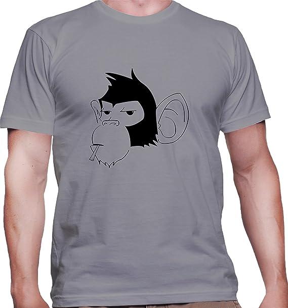 Maglietta da uomo con Smoking Monkey Illustration stampa. X-Large ... 20215765fdcc