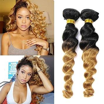 e2a3f49c80cb9f Amazon.com   Top Hair 3 Bundles Peruvian Virgin Hair Loose 2 tone Ombre Hair  Extensions Human Hair Black To Blonde (Mixed 10 12 14 Inch
