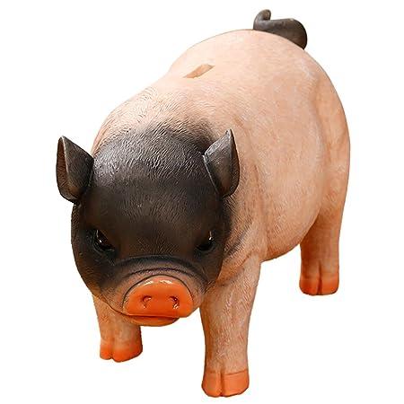 Aivtalk Artisanat Ornements Decoree Resine Cochon Tirelire Enfants Epargne Mignon Grande Capacite Piggy Bank Exquis Cadeau Anniversaire Rose Et