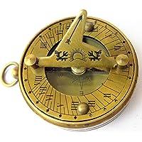 Kartique Antique Look Brass Pocket Sundial Compass | Nautical Gift