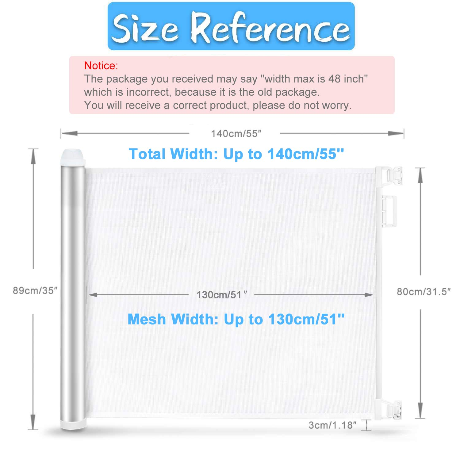 Baby Retractable Mesh Gates, Extra Wide Safety Gate/Pet Dog Gate Replacement for Stairs/Door/Stairway - Flexible Extension Waterproof Rustproof Aluminum White Protect Toddlers (Silver White) by PRObebi (Image #5)