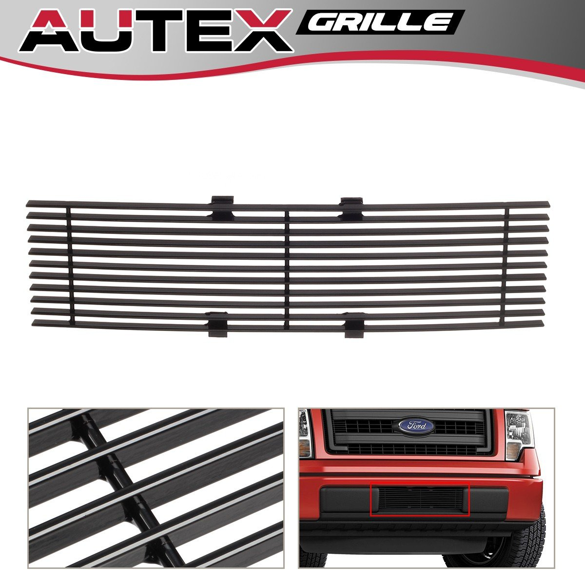 AUTEX F66789H Black Powder Coated Aluminum Horizontal Billet Lower Bumper Grille Insert Compatible With 2009 2010 2011 2012 2013 2014 Ford F150 Lower Grill Insert PartsSquare