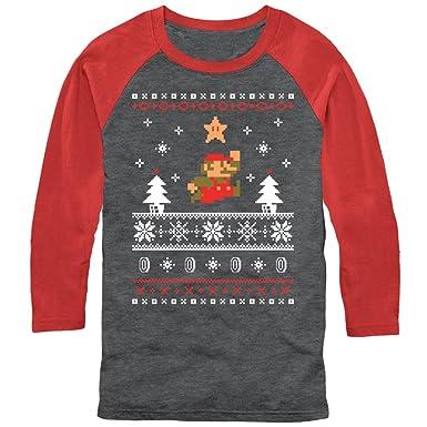 Amazoncom Nintendo Mens Mario Ugly Christmas Sweater Baseball Tee