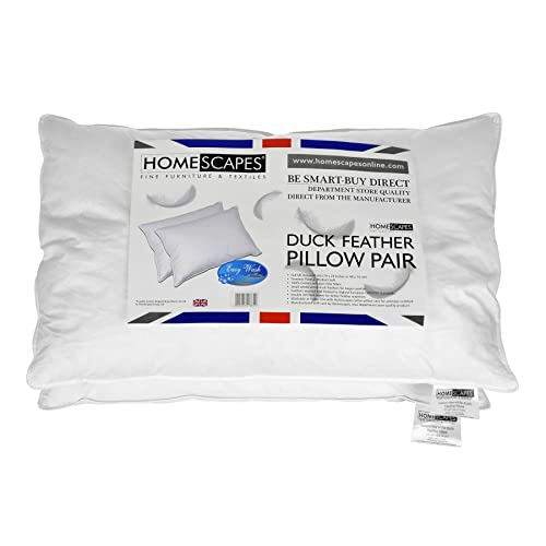 Homescapes - White Duck FEATHER Pillow PAIR - Department Store Quality - Anti Dust Mite - Washable - Medium / Soft Firmness - 100% Cotton Downproof Cover